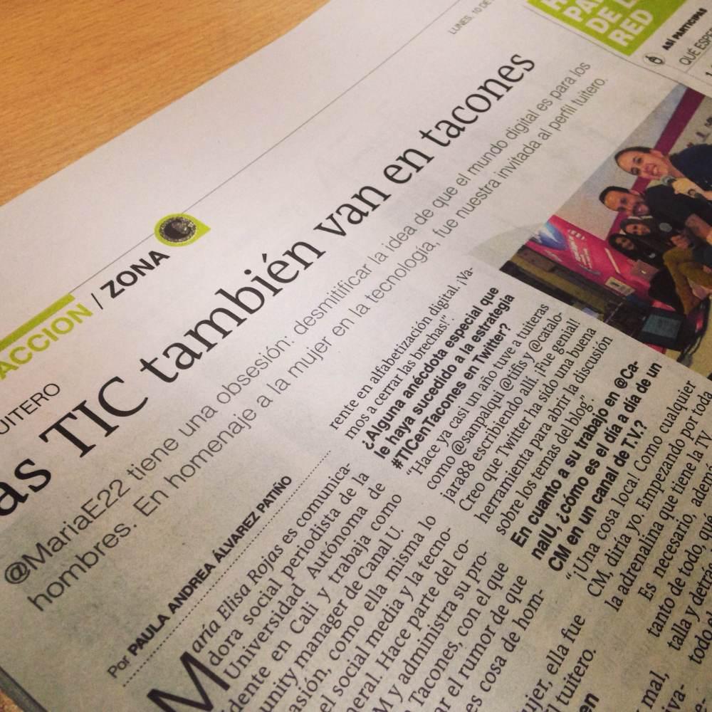 Artículo publicado en El Colombiano sobre #TICenTacones